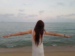 Roberta en la playa